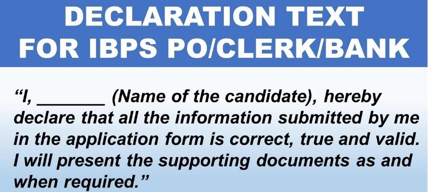 IBPS PO 2019 Declaration Form