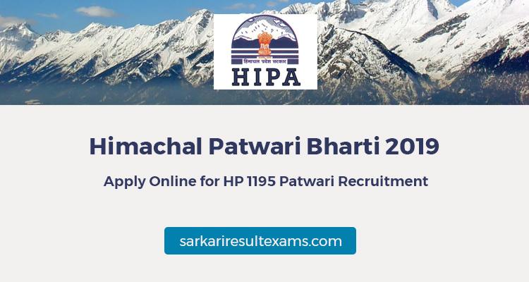 Himachal Patwari Bharti 2019