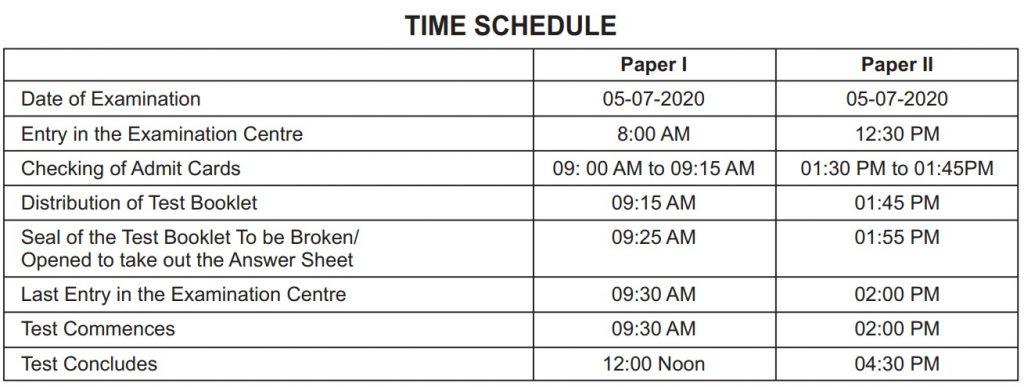 CTET 2020 Schedule
