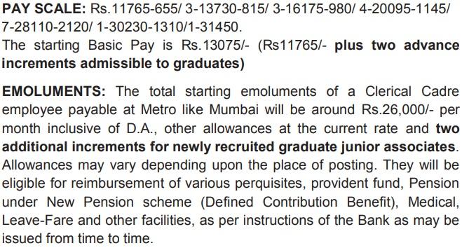 SBI Clerk 2020 Pay Scale