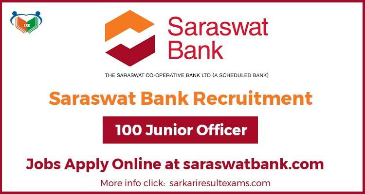 Saraswat Bank Recruitment For 100 Junior Officer (कनिष्ठ अधिकारी) Jobs Apply Online at saraswatbank.com