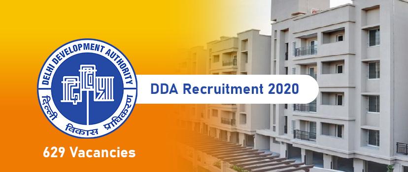 DDA Recruitment 2020 – DDA Jobs Declare for 629 Jr. Secretariat Assistant, Patwari & Posts