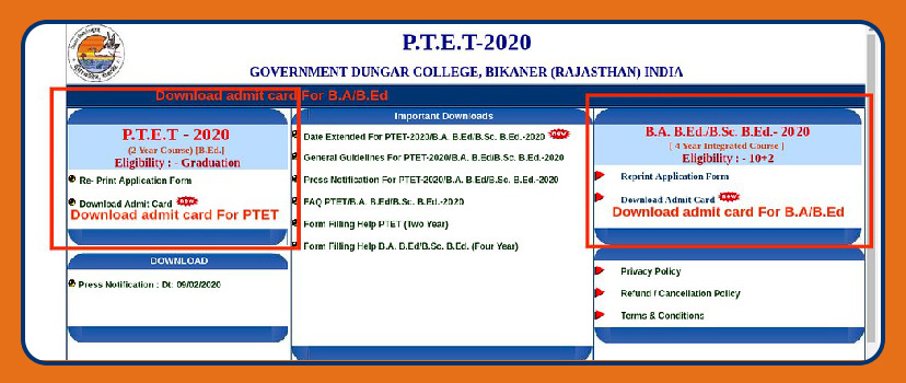 Where To Get PTET 2020 Admit Card
