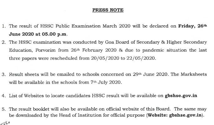 GBSHSE 12th Result 2020 Details