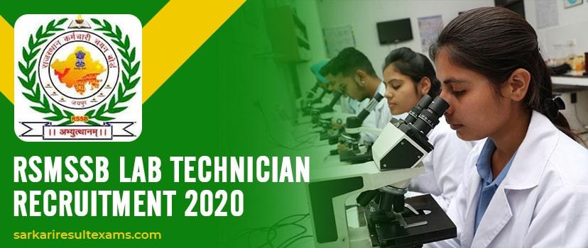 RSMSSB Lab Technician Recruitment 2020 Online Form for 2177 प्रयोगशाला तकनीशियन Jobs Declare at rsmssb.rajasthan.gov.in