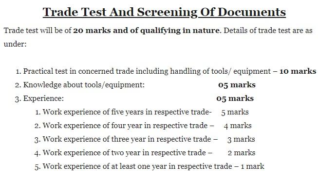 CRPF Trade Test 2020