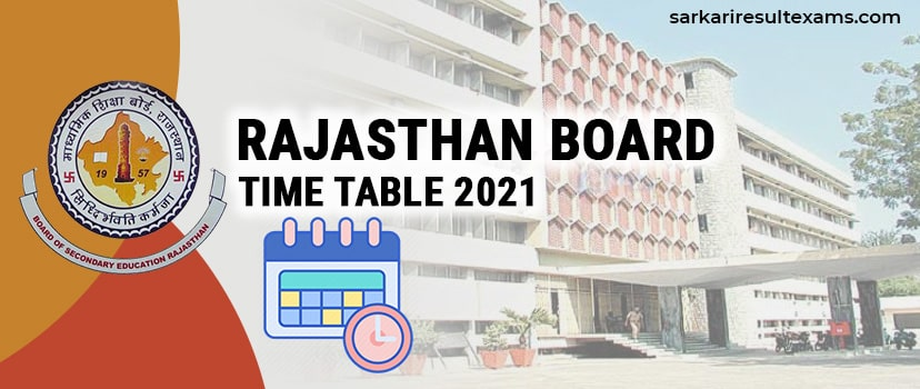 Rajasthan Board Time Table 2021 – RBSE Class 10th & 12th Date Sheet Pdf